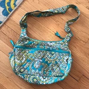 Blue and green quilted bag